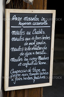Menu written in French and Flemish in Bruges, Belgium