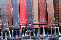 Belts Collection in a Tuscan Market, Italy