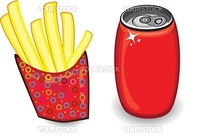Illustration with french fries and red drink can on white