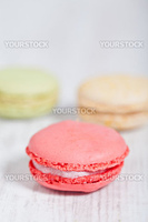Colorful delicious macarons, typical french pastries
