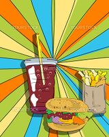 Pop art graphic background with cheeseburger, fries and soda, conceptual  food graphic