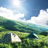 Legs in tent