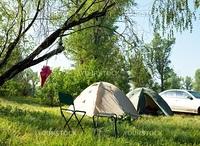camping on summer grassland