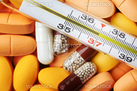thermometer and drugs medical background