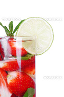 strawberry mojito isolated on white