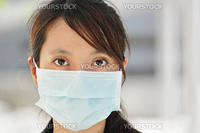 Business woman with face mask