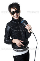 Asian rock singer in performance, isolated on white.