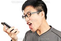 man yells to his phone