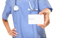 Doctor business card close up. Empty small sign card with copy space for text etc. Medical professional, doctor or nurse isolated on white background.