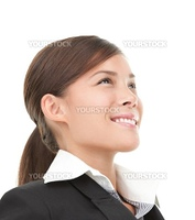 Asian Business woman portrait isolated on white background. Young mixed race Chinese Asian / Caucasian businesswoman.