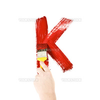 Painting Letter K on white background