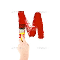 Painting Letter M on white background