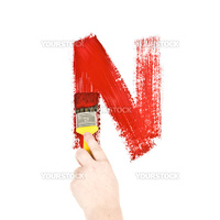 Painting Letter N on white background