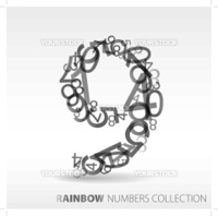 Number nine made from various numbers - check my portfolio for other numbers