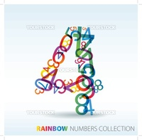 Number four made from colorful numbers -  check my portfolio for other numbers