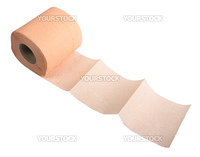 Pink toilet paper. Close-up. Isolated on white background.