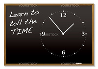 School blackboard with chalk clock and tell the time text