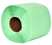 Green toilet paper  on a white background