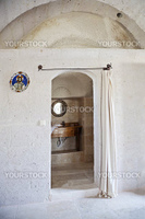 Bathroom in a limestone cave, Goreme Cappadocia, Turkey, portrait, copy space