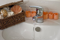 Bathroom sink with running clean water