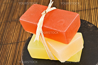 Three bars of organic glycerin soap in a spa.