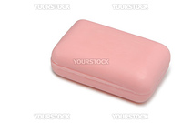 Soaps of pink color. It is isolated on a white background