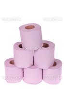 Roll of the pink toilet paper, isolated on white