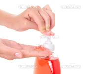 washing teenager hands isolated on white background