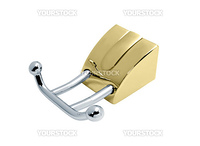 golden towel holder with two bars, isolated