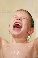 happy child wash in the shower