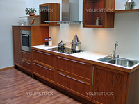 Modern design kitchen with hardwood elements metal and glass