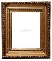 Golden picture frame isolated on white. Clipping path included.