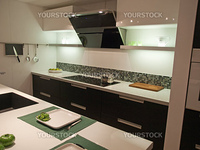 Modern design trendy kitchen with black wood elements, metal and glass
