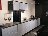 Modern design trendy kitchen with black and white wood elements and metal