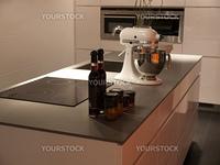 Modern style design trendy white kitchen with appliances