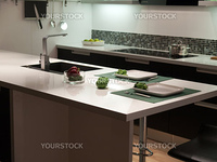 Modern design trendy styled kitchen with black and white wood elements, metal and glass