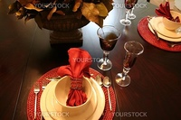 beautiful dining table set up with glasses