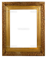 Brass colored picture frame isolated on white. Ornate carvings