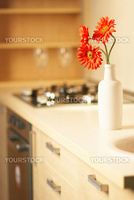 Beautiful flower on table in modern white kitchen