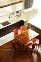 interior of a kitchen with dinning place