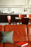 red sofa and interior of a kitchen with dinning place in red color