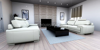 3D rendered Illustration. Interior visualisation of a living room.