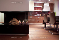 Modern kitchen with fireplace