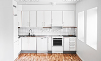 White modern kitchen design is extremely stylish and woodflor