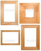 Collection of Wooden Frames Isolated on White Background