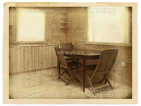Old (stylized) photo of  kitchen interior in a wooden blockhouse