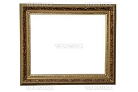 Old grunge painting frame isolated on white.