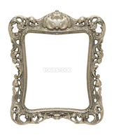 An ornate pewter picture frame silhouetted against a white background