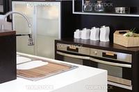 Brown wood kitchen modern stainless steel decoration house