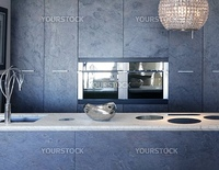 slate stone kitchen forniture marble bench integrated vitroceramic stove